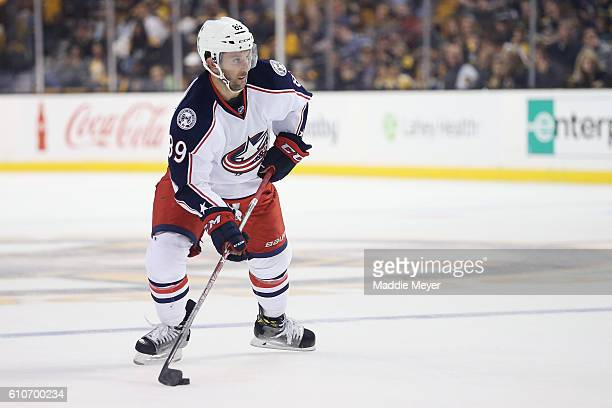 Sam Gagner of the Columbus Blue Jackets skates against the Boston Bruins during the second period of the preseason game at TD Garden on September 26...