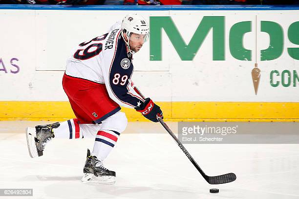 Sam Gagner of the Columbus Blue Jackets skates with the puck against the Florida Panthers at the BBT Center on November 26 2016 in Sunrise Florida