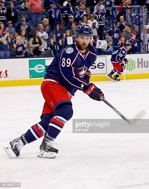 Sam Gagner of the Columbus Blue Jackets warms up prior to the start of the game against the Boston Bruins on October 13 2016 at Nationwide Arena in...