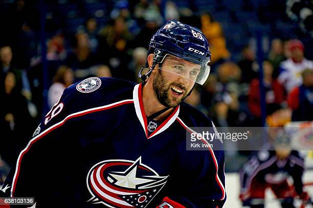 Sam Gagner of the Columbus Blue Jackets warms up prior to the start of the game against the New York Rangers on January 7 2017 at Nationwide Arena in...