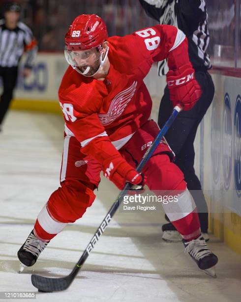 Sam Gagner of the Detroit Red Wings controls the puck against the Colorado Avalanche during an NHL game at Little Caesars Arena on March 2, 2020 in...