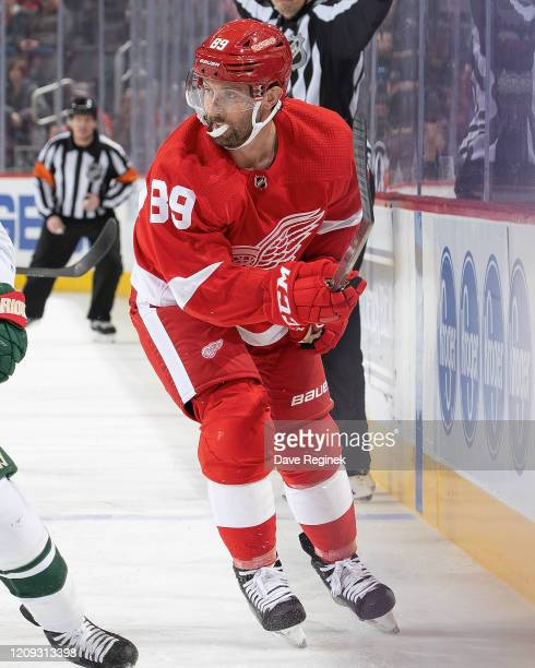 Sam Gagner of the Detroit Red Wings follows the play against the Minnesota Wild during an NHL game at Little Caesars Arena on February 27, 2020 in...
