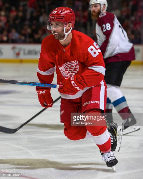 Sam Gagner of the Detroit Red Wings follows the play against the Colorado Avalanche during an NHL game at Little Caesars Arena on March 2, 2020 in...