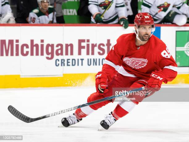 Sam Gagner of the Detroit Red Wings follows the play in his first game as a Wing during an NHL game against the Minnesota Wild at Little Caesars...