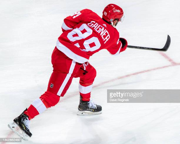 Sam Gagner of the Detroit Red Wings shoots the puck in warm ups prior to an an NHL game against the Chicago Blackhawks at Little Caesars Arena on...