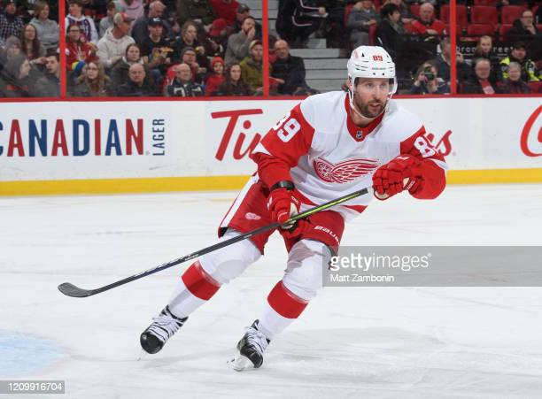 Sam Gagner of the Detroit Red Wings skates against the Ottawa Senators at Canadian Tire Centre on February 29, 2020 in Ottawa, Ontario, Canada.