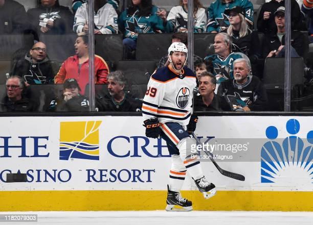 Sam Gagner of the Edmonton Oilers celebrates scoring a goal against the San Jose Sharks at SAP Center on November 12, 2019 in San Jose, California.