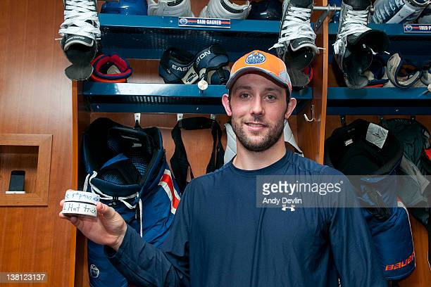 Sam Gagner of the Edmonton Oilers displays the pucks with which he scored his hattrick goal and his 8th point in a single game The game came against...
