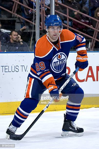 Sam Gagner of the Edmonton Oilers looks for a pass during a game against the Montreal Canadiens on October 10, 2009 at Rexall Place in Edmonton,...