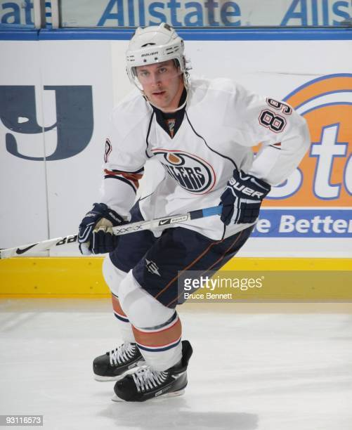 Sam Gagner of the Edmonton Oilers skates against the New York Islanders at the Nassau Coliseum on November 2 2009 in Uniondale New York