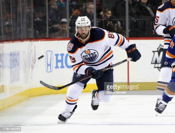 Sam Gagner of the Edmonton Oilers skates against the New York Islanders during the first period at the Barclays Center on February 16 2019 in the...