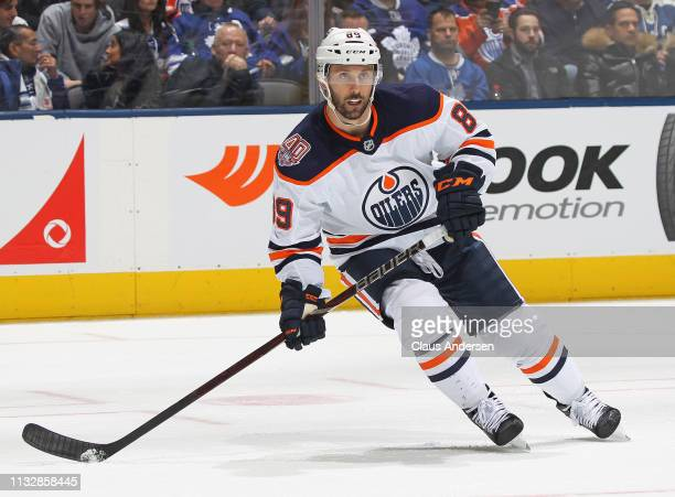 Sam Gagner of the Edmonton Oilers skates against the Toronto Maple Leafs during an NHL game at Scotiabank Arena on February 27, 2019 in Toronto,...