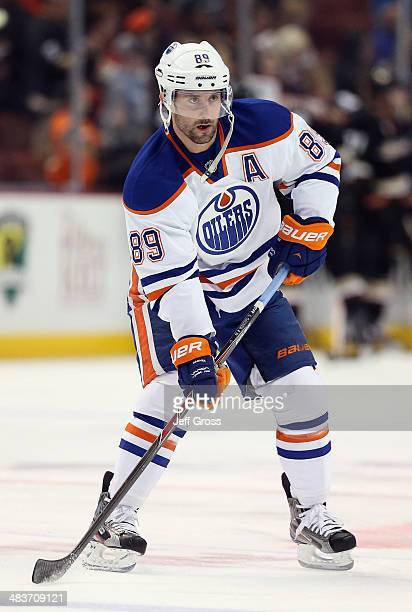 Sam Gagner of the Edmonton Oilers skates prior to the start of the game against the Anaheim Ducks at Honda Center on April 2, 2014 in Anaheim,...