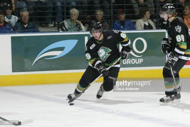 Sam Gagner of the London Knights skates against the Owen Sound Attack at the John Labatt Centre on September 29 2006 in London Ontario Canada