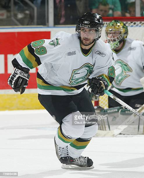 Sam Gagner of the London Knights skates against the Plymouth Whalers in game three of the Western Conference Final on April 23 2007 at the John...