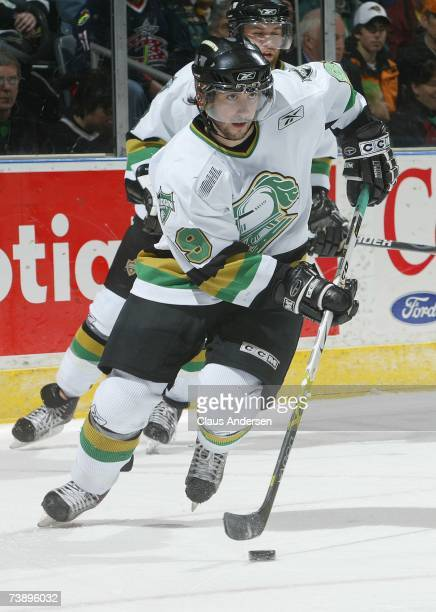 Sam Gagner of the London Knights skates with the puck against the Sault Ste Marie Greyhounds in game five of the Western Conference semifinal at the...
