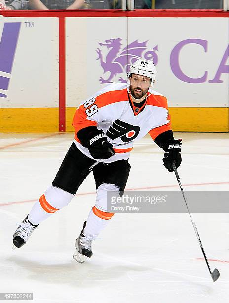 Sam Gagner of the Philadelphia Flyers follows the play down the ice during secondperiod action against the Winnipeg Jets at the MTS Centre on...
