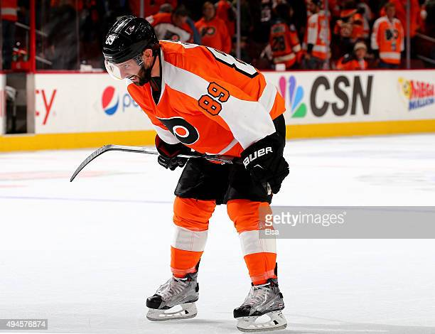 Sam Gagner of the Philadelphia Flyers reacts after the loss to the Buffalo Sabres on October 27, 2015 at the Wells Fargo Center in Philadelphia,...