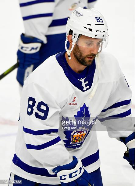 Sam Gagner of the Toronto Marlies skates in warmup prior to a game against the Hartford Wolf Pack during AHL game action on October 20, 2018 at...