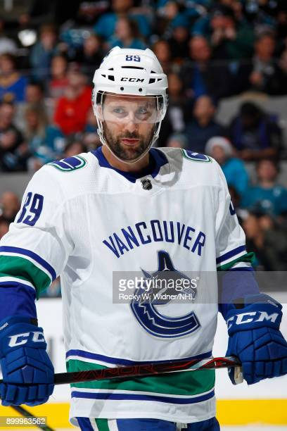 Sam Gagner of the Vancouver Canucks looks on during the game against the San Jose Sharks at SAP Center on December 21 2017 in San Jose California