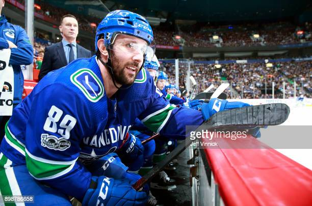 Sam Gagner of the Vancouver Canucks looks on from the bench during their NHL game against the Toronto Maple Leafs at Rogers Arena December 2 2017 in...