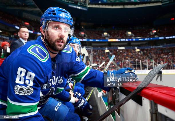 Sam Gagner of the Vancouver Canucks looks on from the bench during the NHL game against the Nashville Predators at Rogers Arena December 13 2017 in...
