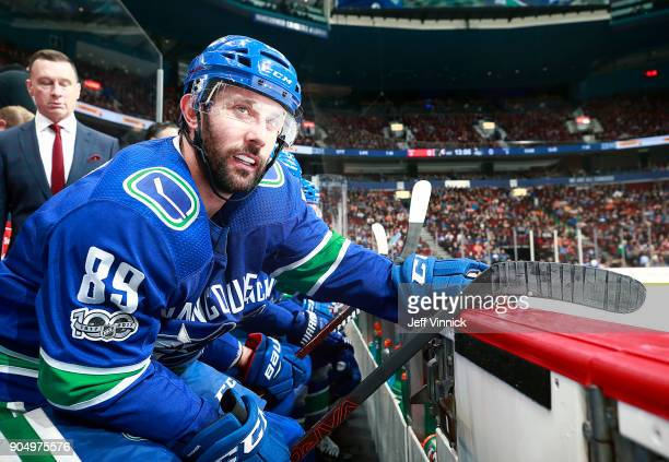 Sam Gagner of the Vancouver Canucks looks on from the bench during their NHL game against the Philadelphia Flyers at Rogers Arena December 7 2017 in...