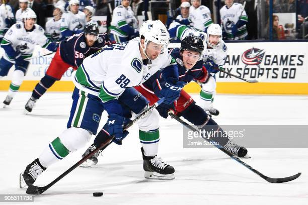 Sam Gagner of the Vancouver Canucks skates against the Columbus Blue Jackets on January 12 2018 at Nationwide Arena in Columbus Ohio