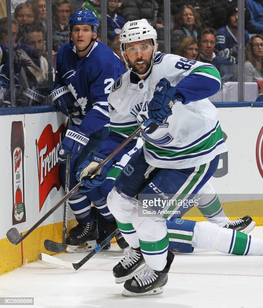 Sam Gagner of the Vancouver Canucks skates against the Toronto Maple Leafs during an NHL game at the Air Canada Centre on January 6 2018 in Toronto...