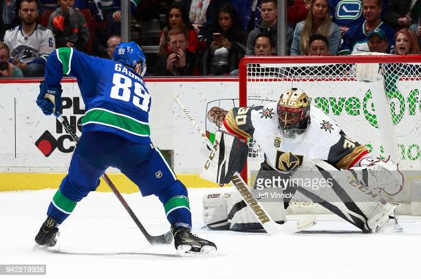 Sam Gagner of the Vancouver Canucks skates in on Malcolm Subban of the Vegas Golden Knights in the shootout during their NHL game at Rogers Arena...