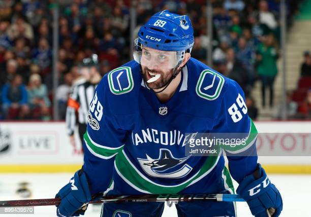 Sam Gagner of the Vancouver Canucks skates up ice during their NHL game against the Carolina Hurricanes at Rogers Arena December 5 2017 in Vancouver...