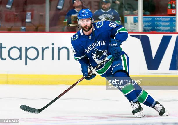 Sam Gagner of the Vancouver Canucks skates up ice during their NHL game against the Philadelphia Flyers at Rogers Arena December 7 2017 in Vancouver...