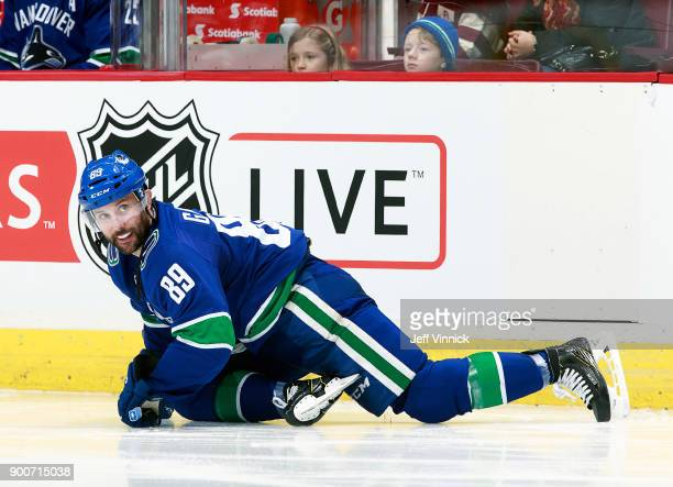 Sam Gagner of the Vancouver Canucks stretches during their NHL game against the Los Angeles Kings at Rogers Arena December 30 2017 in Vancouver...
