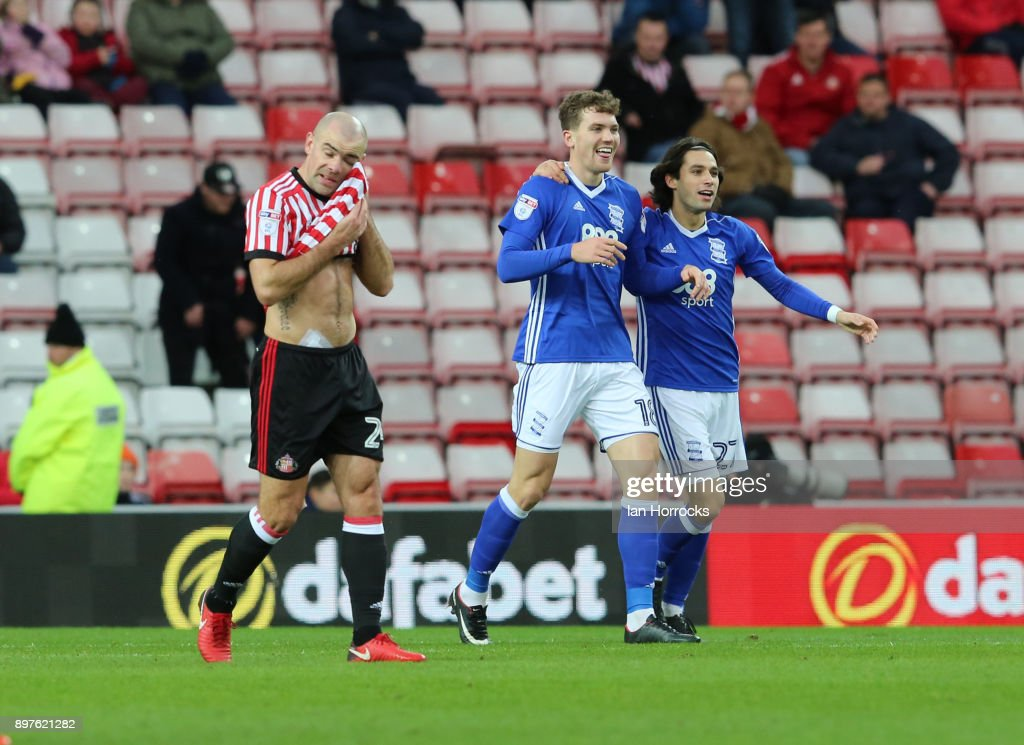 Sam Gallagher of Birmingham (C) celebrates after he scores the opening goal during the Sky Bet Championship match between Sunderland and Birmingham City at Stadium of Light on December 23, 2017 in Sunderland, England.
