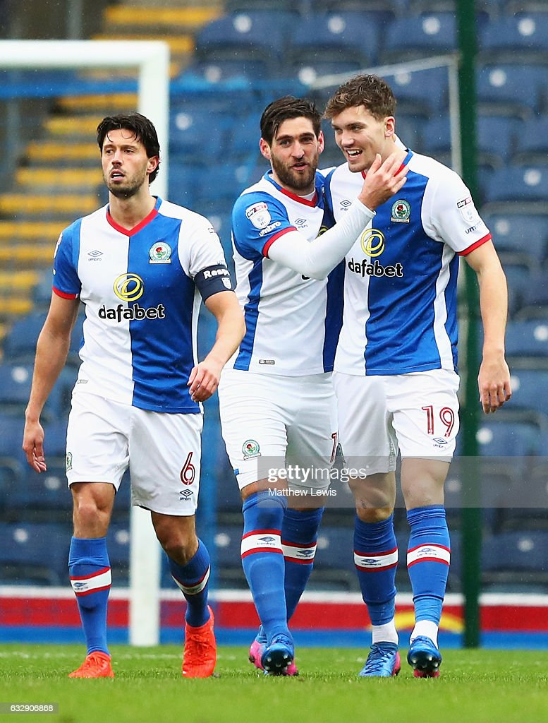 Sam Gallagher of Blackburn Rovers celebrates with team mates after scoring his sides first goal during the Emirates FA Cup Fourth Round match between Blackburn Rovers and Blackpool at Ewood Park on January 28, 2017 in Blackburn, England.