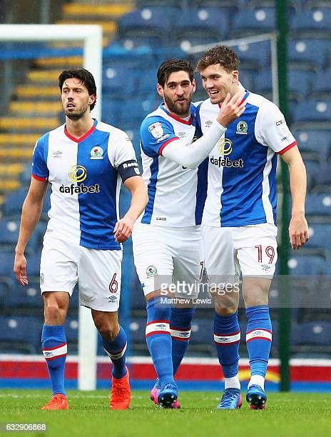 Sam Gallagher of Blackburn Rovers celebrates with team mates after scoring his sides first goal during the Emirates FA Cup Fourth Round match between...