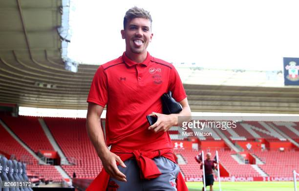 Sam Gallagher of Southampton arrives prior to the preseason friendly between Southampton FC and Sevilla at St Mary's Stadium on August 5 2017 in...