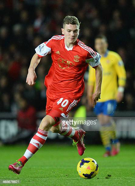 Sam Gallagher of Southampton in action during the Barclays Premier League match between Southampton and Arsenal at St Mary's Stadium on January 28...