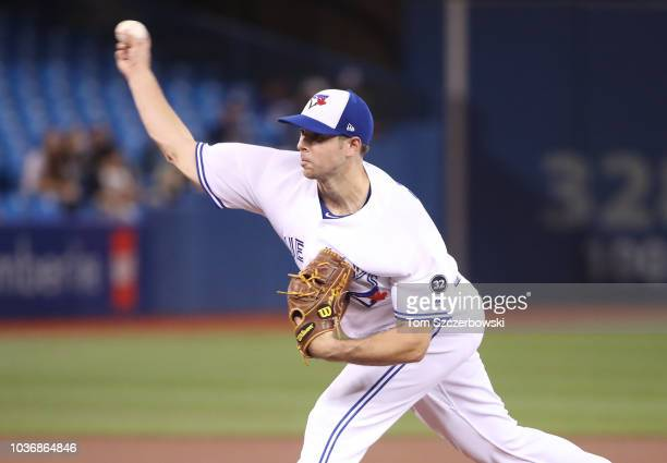 Sam Gaviglio of the Toronto Blue Jays delivers a pitch in the first inning during MLB game action against the Tampa Bay Rays at Rogers Centre on...