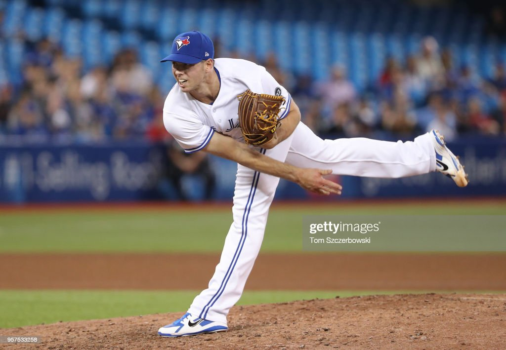 Sam Gaviglio #44 of the Toronto Blue Jays delivers a pitch in the tenth inning during MLB game action against the Boston Red Sox at Rogers Centre on May 11, 2018 in Toronto, Canada.