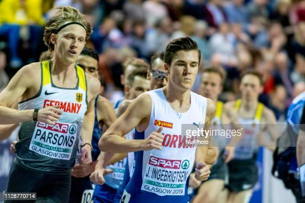 Sam GER and INGEBRIGTSEN Jakob NOR competing in the 3000m Men Final event during day TWO of the European Athletics Indoor Championships 2019 at...