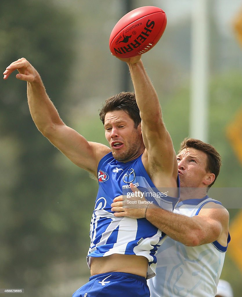 Sam Gibson and Brent Harvey compete for the ball during a North Melbourne Kangaroos AFL training session at Aegis Park on February 12, 2014 in Melbourne, Australia.