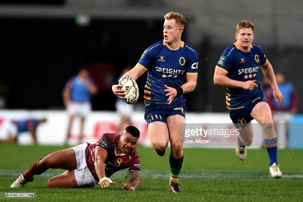 Sam Gilbert of Otago charges upfield during the round one Bunnings NPC match between Otago and Southland at Forsyth Barr Stadium, on August 07 in...