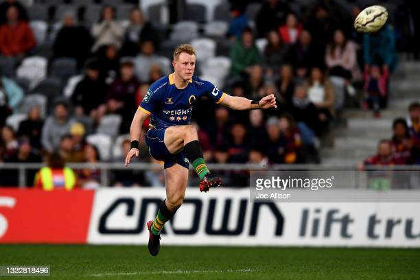 Sam Gilbert of Otago kicks the ball during the round one Bunnings NPC match between Otago and Southland at Forsyth Barr Stadium, on August 07 in...