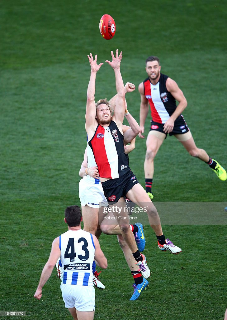 Sam Gilbert of the Saints leaps for the ball during the round 20 AFL match between the North Melbourne Kangaroos and the St Kilda Saints at Blundstone Arena on August 15, 2015 in Hobart, Australia.
