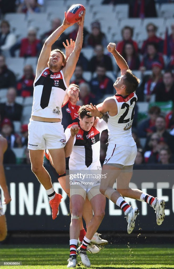 Sam Gilbert of the Saints marks during the round 21 AFL match between the Melbourne Demons and the St Kilda Saints at Melbourne Cricket Ground on August 13, 2017 in Melbourne, Australia.