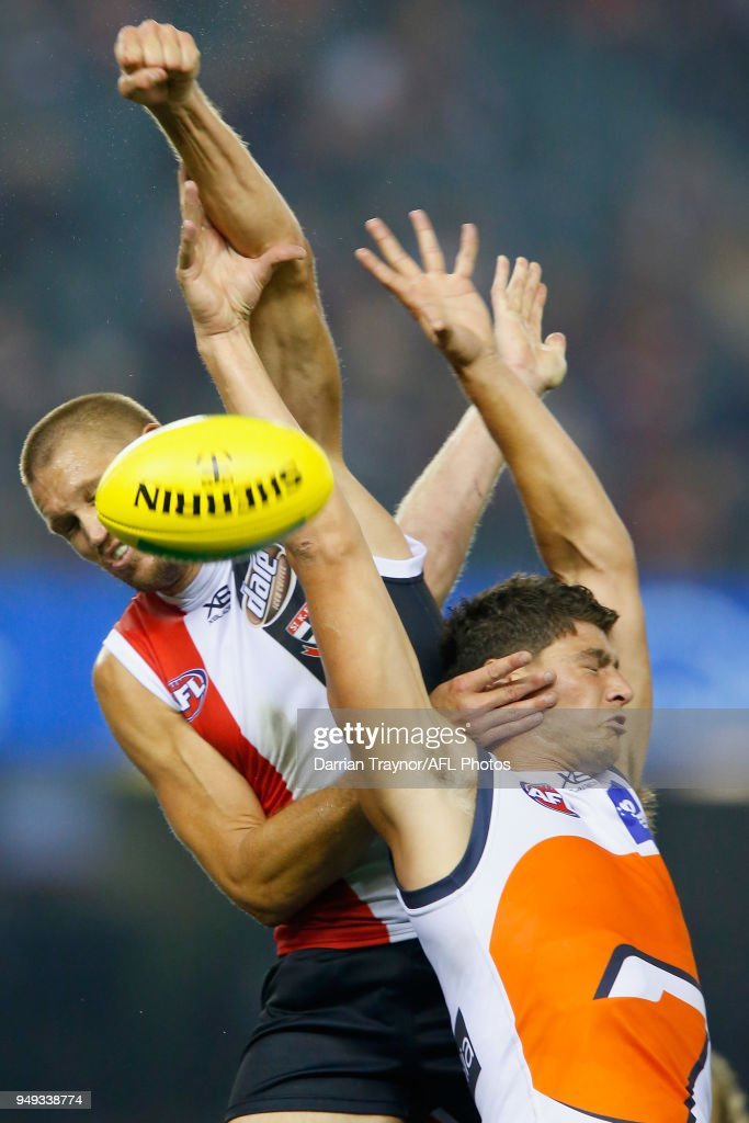 Sam Gilbert of the Saints spoils Jonathon Patton of the Giants during the round five AFL match between the St Kilda Saints and the Greater Western Sydney Giants at Etihad Stadium on April 21, 2018 in Melbourne, Australia.