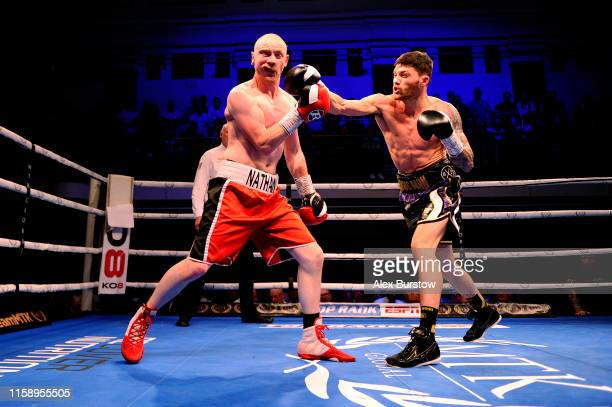Sam Gilley punches Nathan Hardy during the Welterweight fight between Sam Gilley and Nathan Hardy at York Hall on June 28 2019 in London England