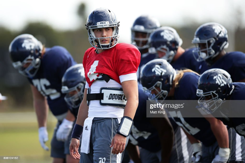 Sam Glaesmann looks on during a Rice University College Football training session at David Phillips Sports Complex on August 24, 2017 in Sydney, Australia.