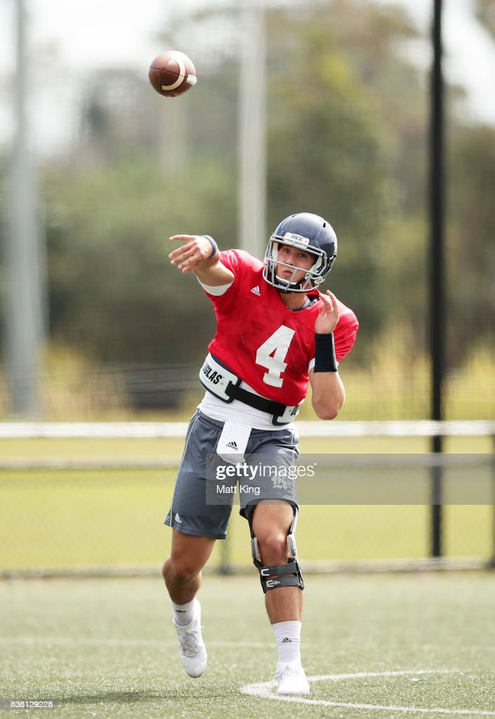 Sam Glaesmann throws a pass during a Rice University College Football training session at David Phillips Sports Complex on August 24, 2017 in Sydney, Australia.